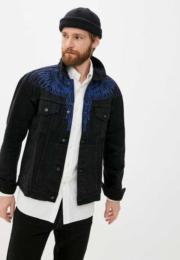 мужская джинсовые куртка marcelo burlon county of milan, черная