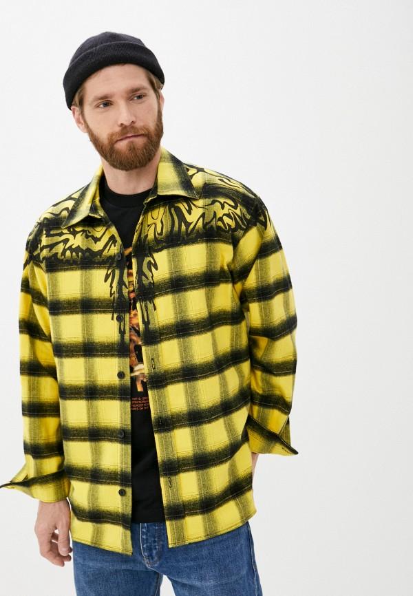 мужская рубашка с длинным рукавом marcelo burlon county of milan, желтая
