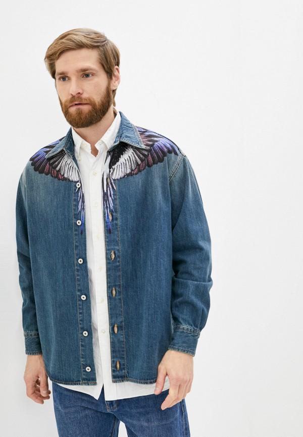 мужская джинсовые рубашка marcelo burlon county of milan, синяя