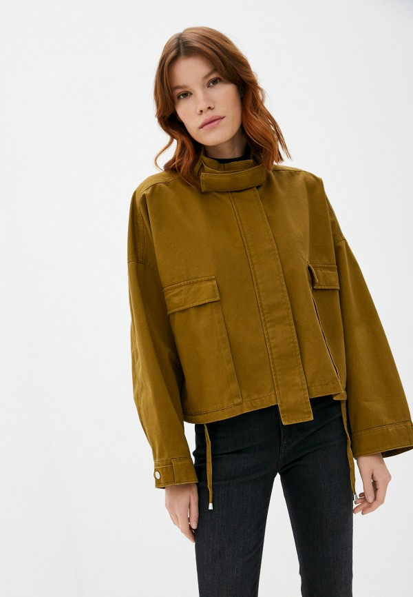 женская джинсовые куртка marc o'polo denim, коричневая
