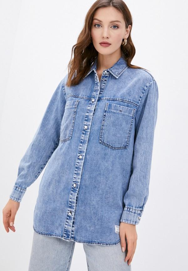 женская джинсовые рубашка marc o'polo denim, синяя