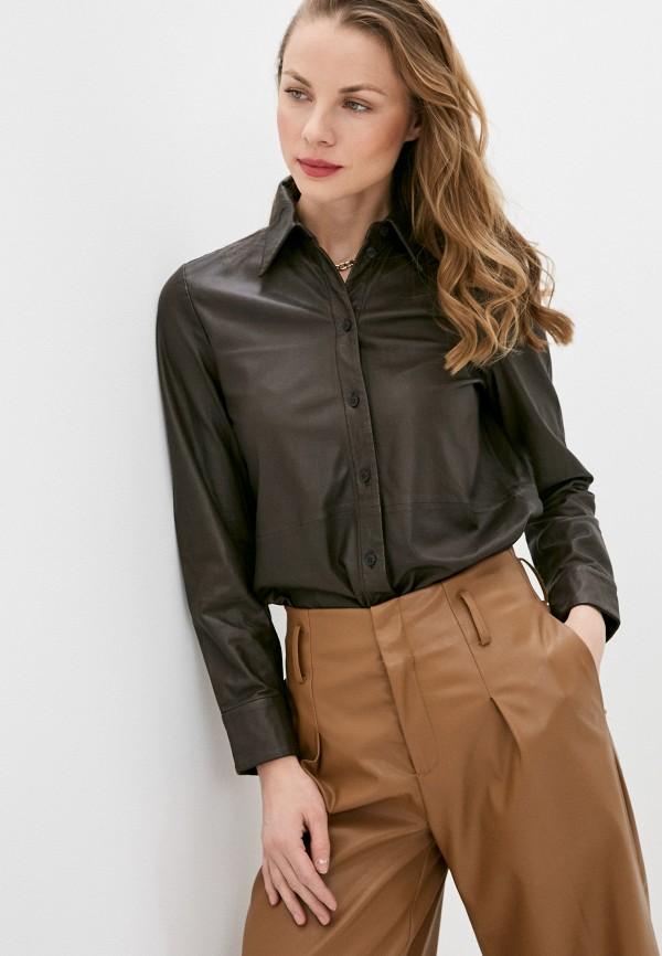 женская рубашка с длинным рукавом marc o'polo, коричневая