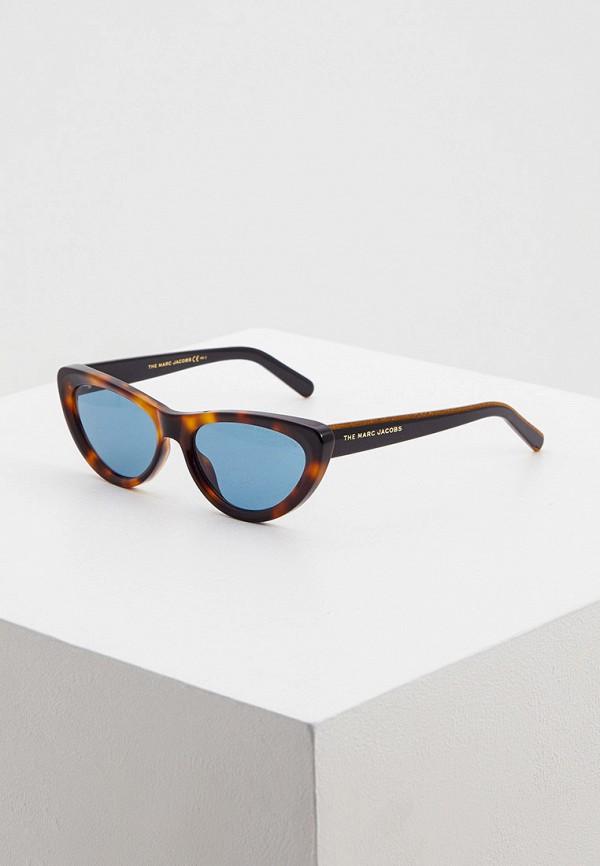 женские солнцезащитные очки кошачьи глаза marc jacobs, коричневые