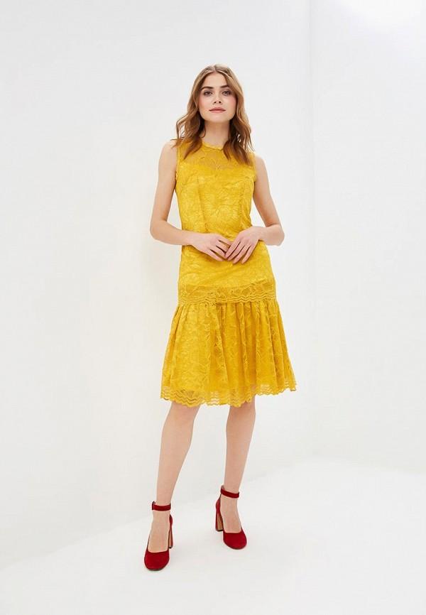 женское платье-футляр мадам т, желтое