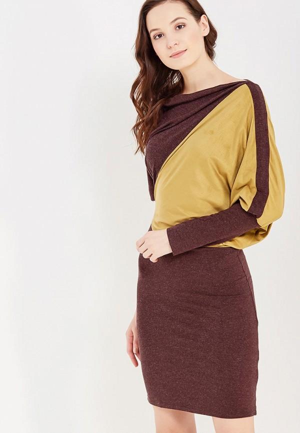 женское платье миди мадам т, коричневое