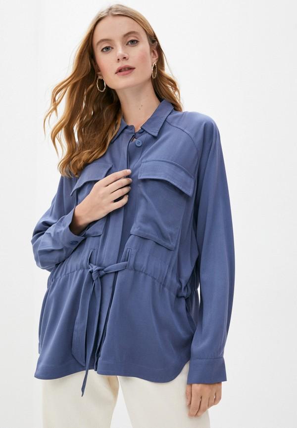 женская рубашка с длинным рукавом mbym, синяя