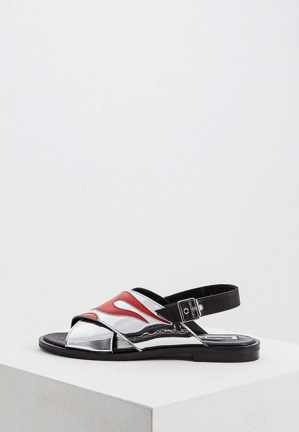 женские сандалии mcq alexander mcqueen, серебряные