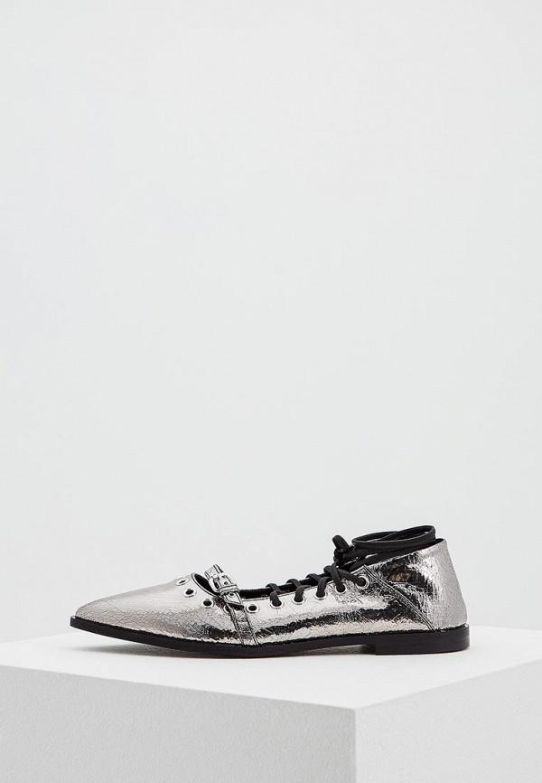 женские туфли mcq alexander mcqueen, серебряные