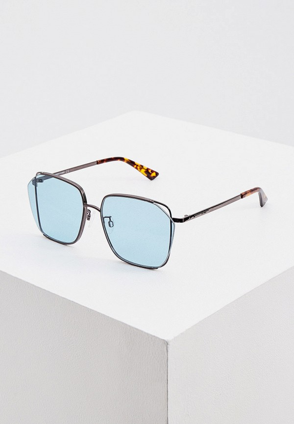 женские квадратные солнцезащитные очки mcq alexander mcqueen, бирюзовые