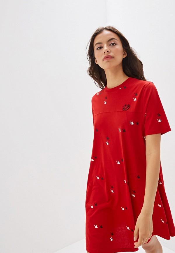 женское платье mcq alexander mcqueen, красное