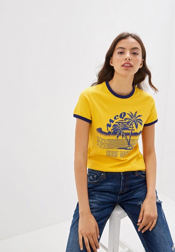 женская футболка mcq alexander mcqueen, желтая
