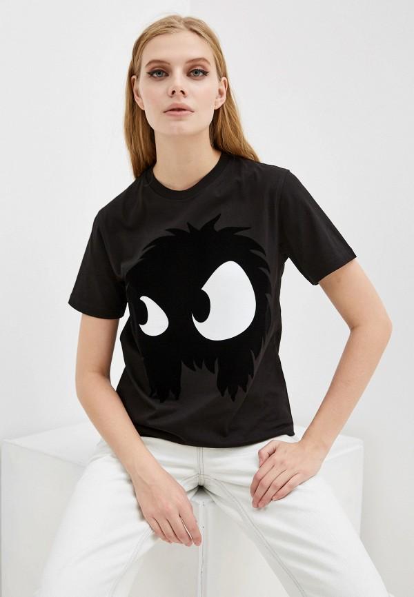 женская футболка mcq alexander mcqueen, черная