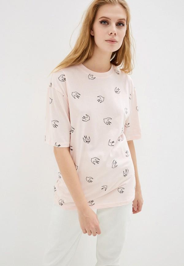 женская футболка mcq alexander mcqueen, розовая