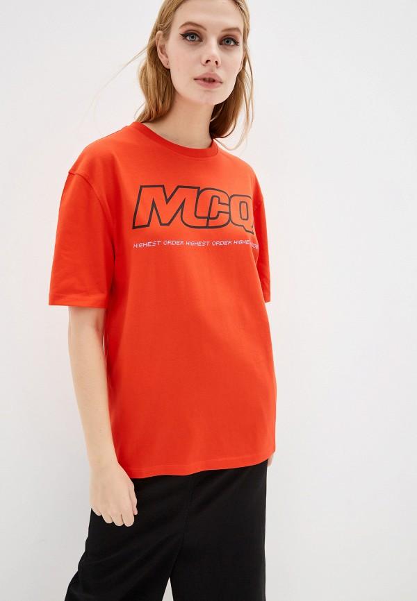 женская футболка mcq alexander mcqueen, красная