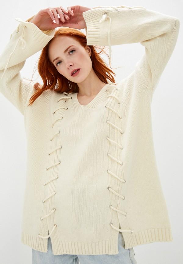женский пуловер mcq alexander mcqueen, бежевый