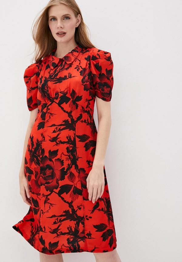 женское повседневные платье mcq alexander mcqueen, красное