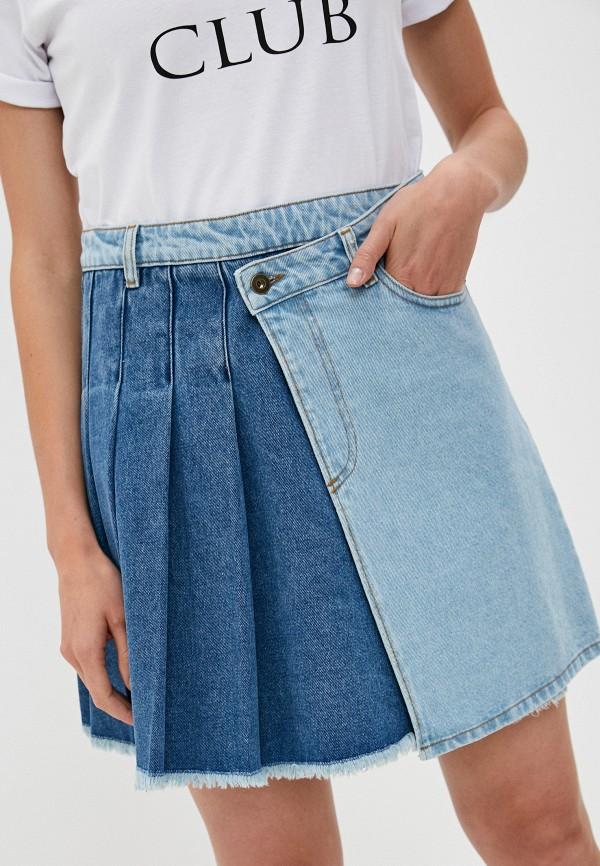 женская джинсовые юбка mcq alexander mcqueen, разноцветная