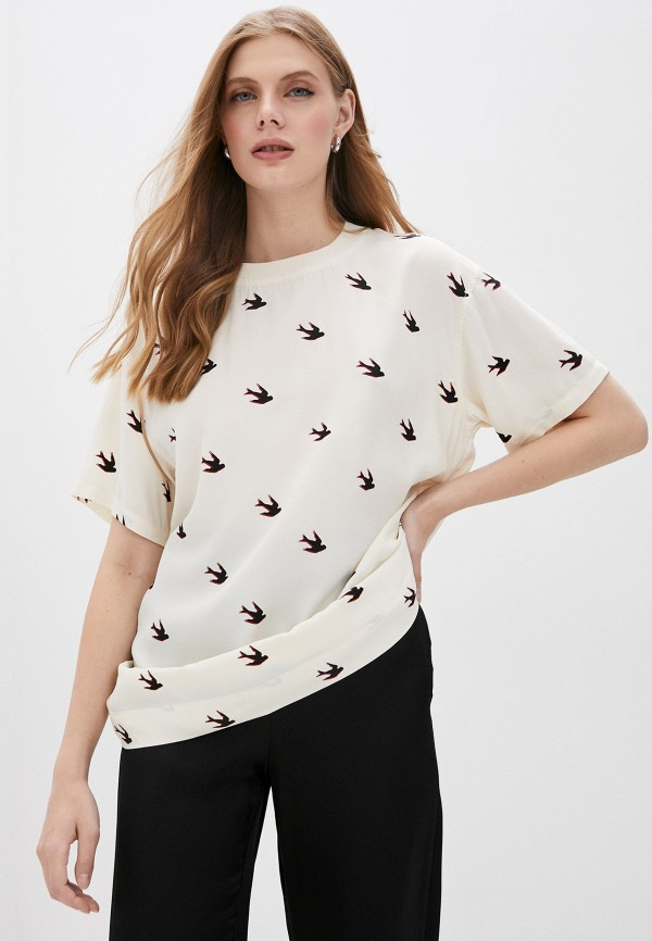 женская футболка mcq alexander mcqueen, бежевая