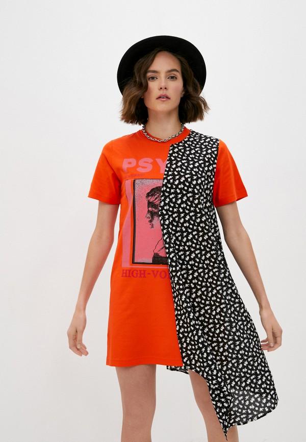 женское платье mcq alexander mcqueen, разноцветное