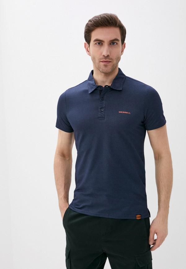 мужское поло с коротким рукавом merrell, синее