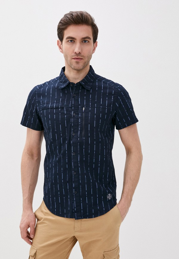 мужская рубашка с коротким рукавом merrell, синяя