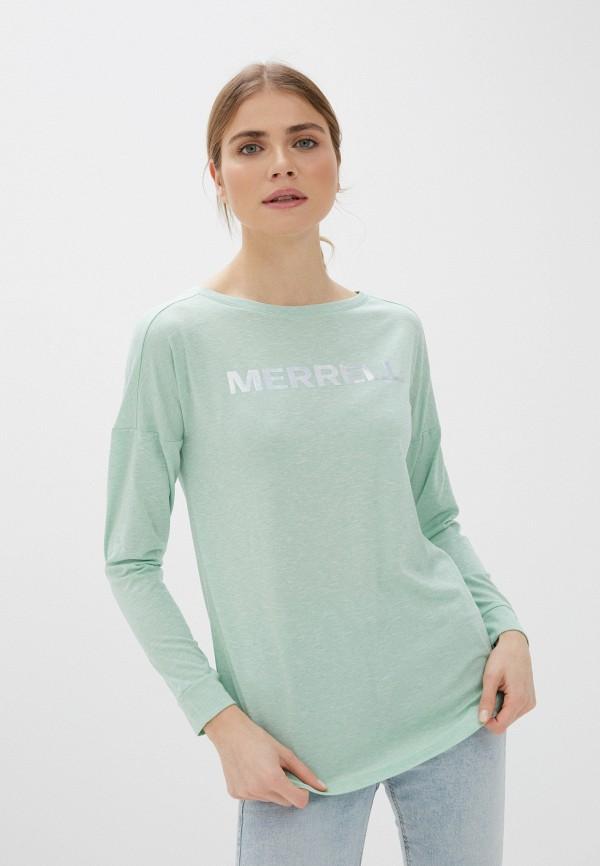 женский лонгслив merrell, зеленый