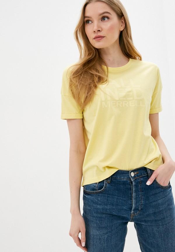 женская спортивные футболка merrell, желтая