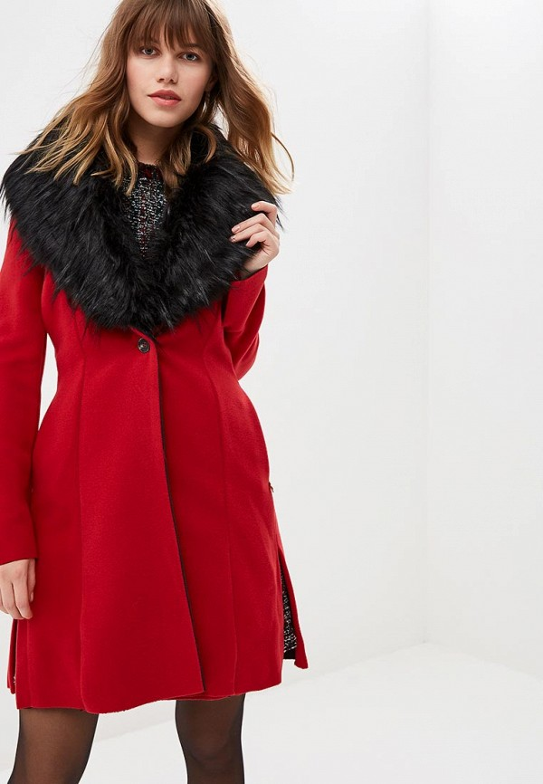 женское пальто met, красное