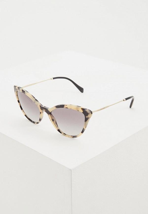 женские солнцезащитные очки кошачьи глаза miu miu, бежевые
