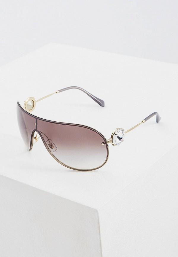 женские авиаторы солнцезащитные очки miu miu, серебряные
