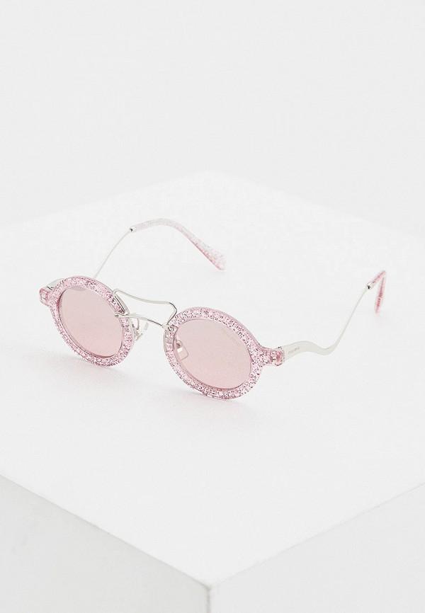 женские круглые солнцезащитные очки miu miu, розовые