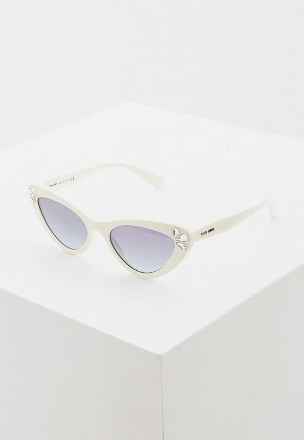 женские солнцезащитные очки кошачьи глаза miu miu, белые