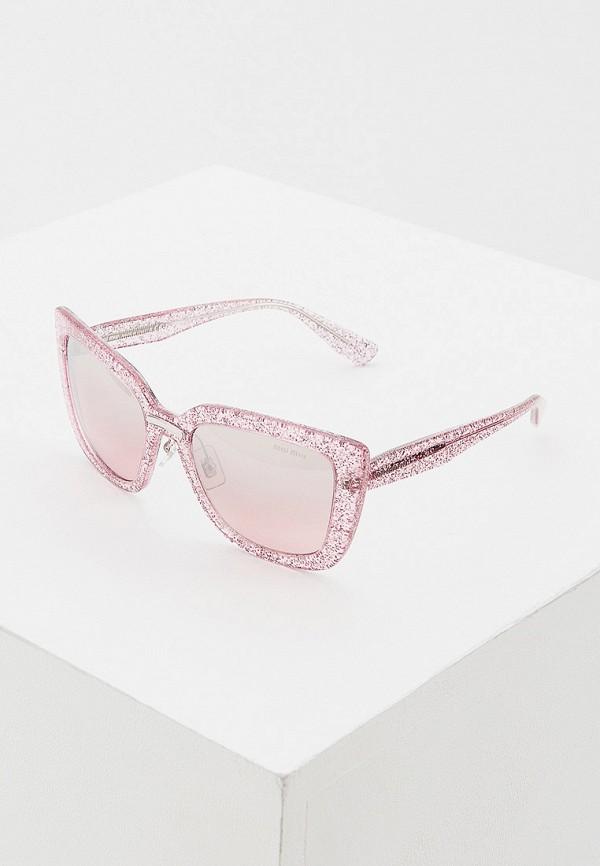 женские солнцезащитные очки кошачьи глаза miu miu, розовые