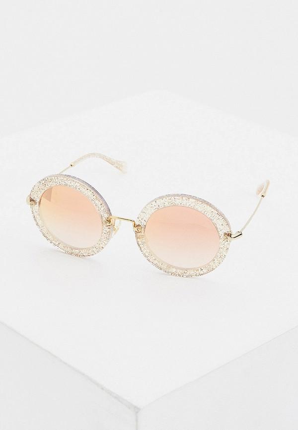женские круглые солнцезащитные очки miu miu, золотые