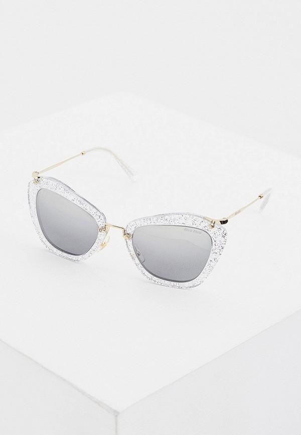 женские солнцезащитные очки кошачьи глаза miu miu, серебряные