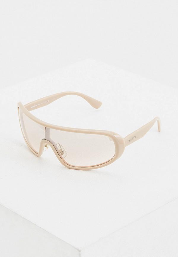 женские солнцезащитные очки miu miu, бежевые