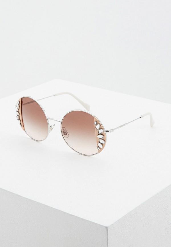 женские круглые солнцезащитные очки miu miu, серебряные