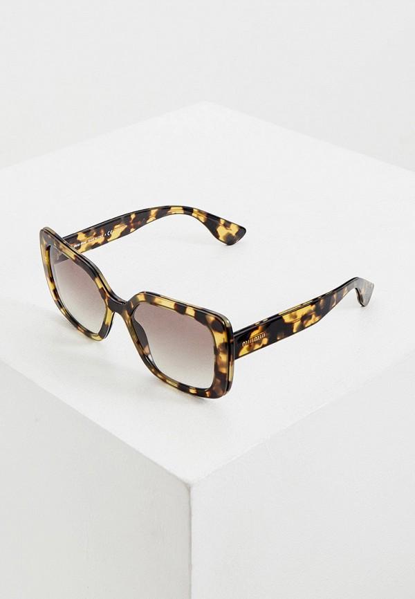 женские квадратные солнцезащитные очки miu miu, бежевые