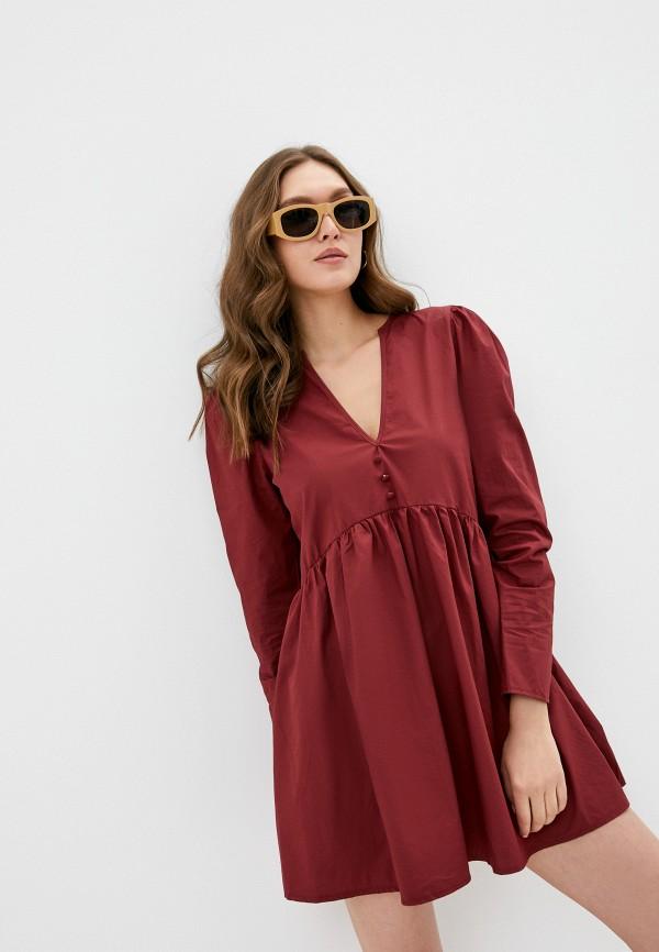 женское повседневные платье missguided, бордовое