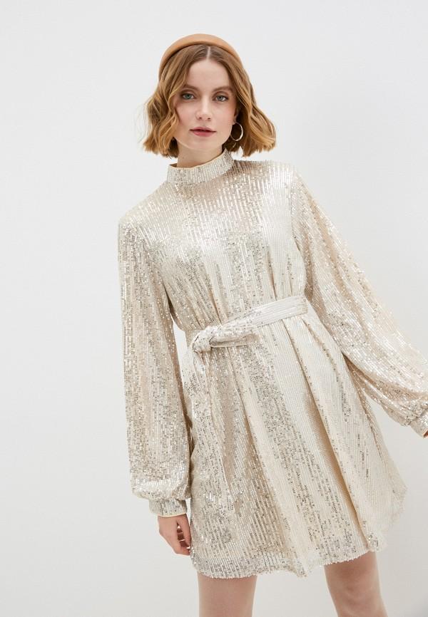 женское вечерние платье missguided, бежевое
