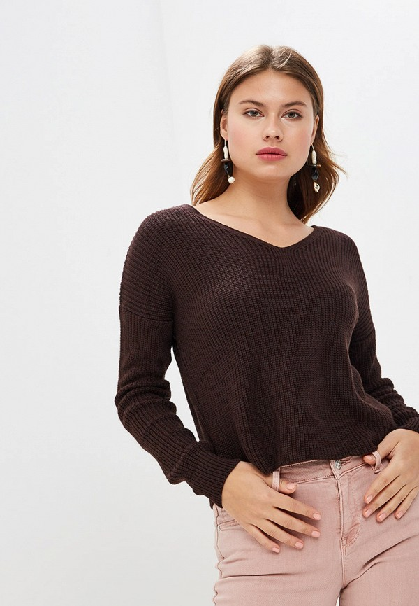 женский пуловер miss selfridge, коричневый