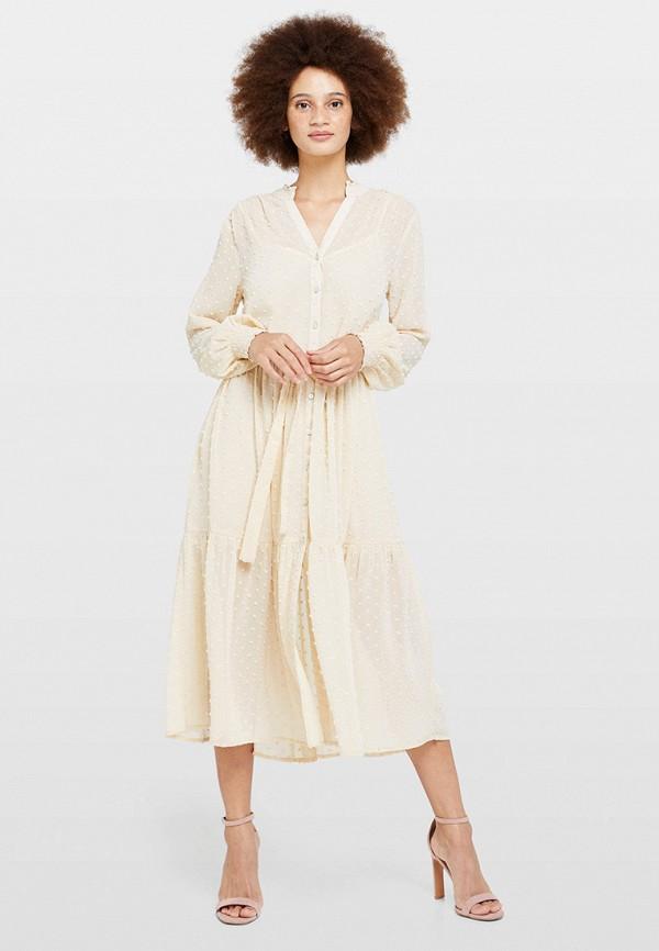 женское повседневные платье miss selfridge, бежевое