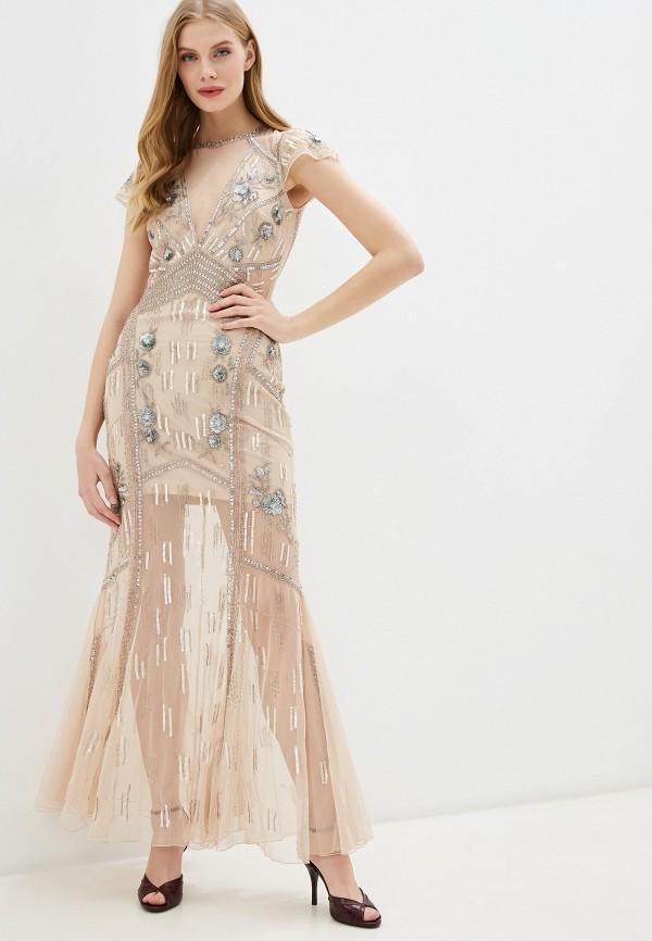 женское вечерние платье miss selfridge, бежевое