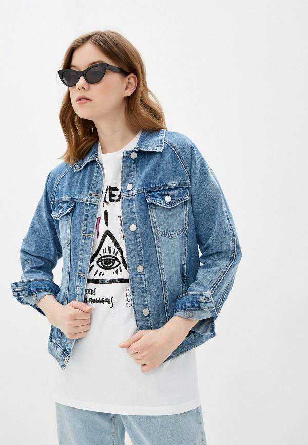 женская джинсовые куртка miss bon bon, голубая