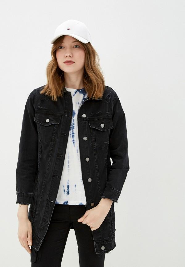 женская джинсовые куртка miss bon bon, черная