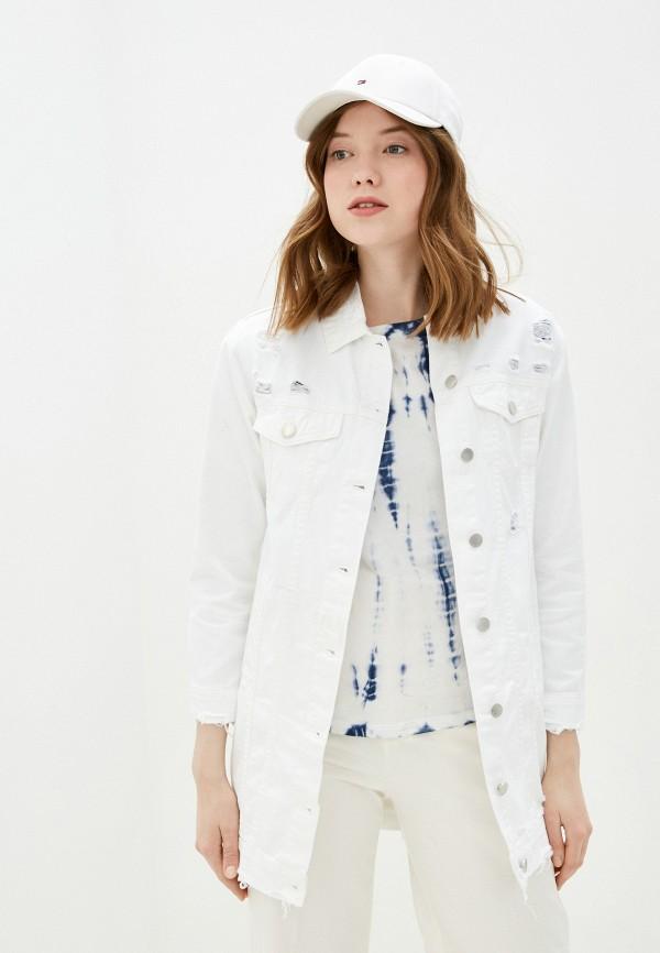 женская джинсовые куртка miss bon bon, белая