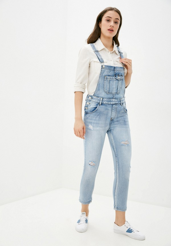 женский джинсовые комбинезон miss bon bon, голубой
