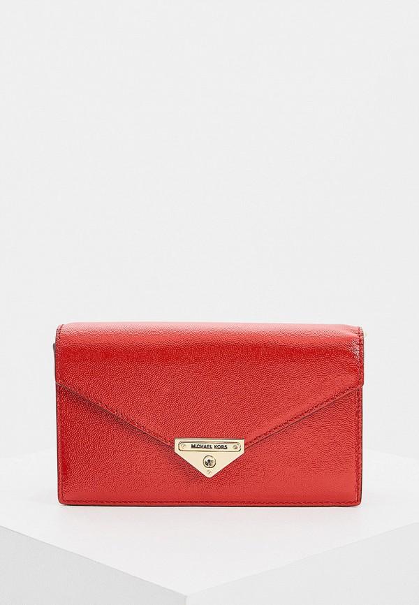 женская сумка через плечо michael kors, красная