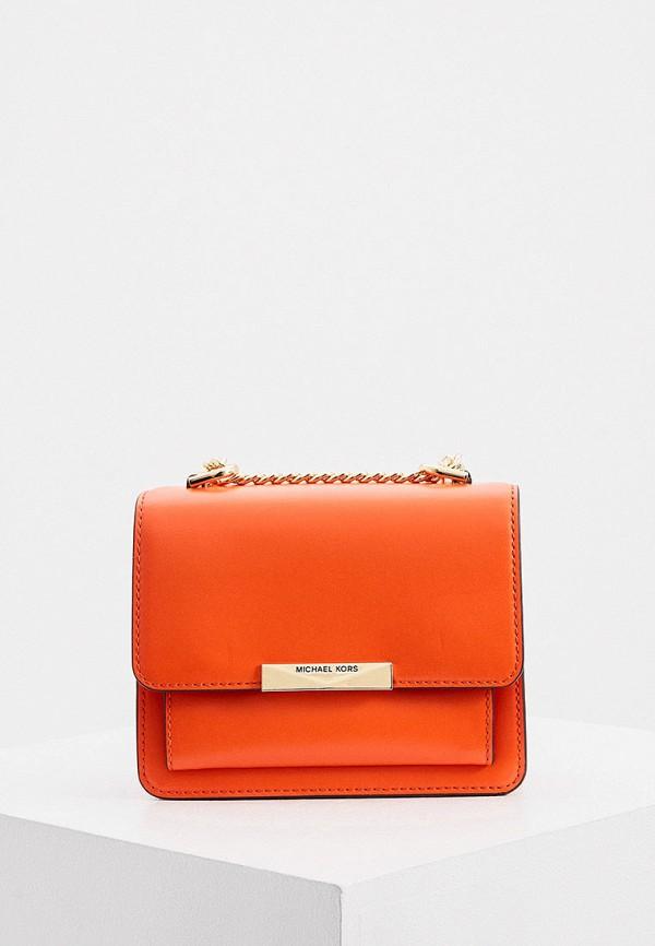 женская сумка через плечо michael kors, оранжевая