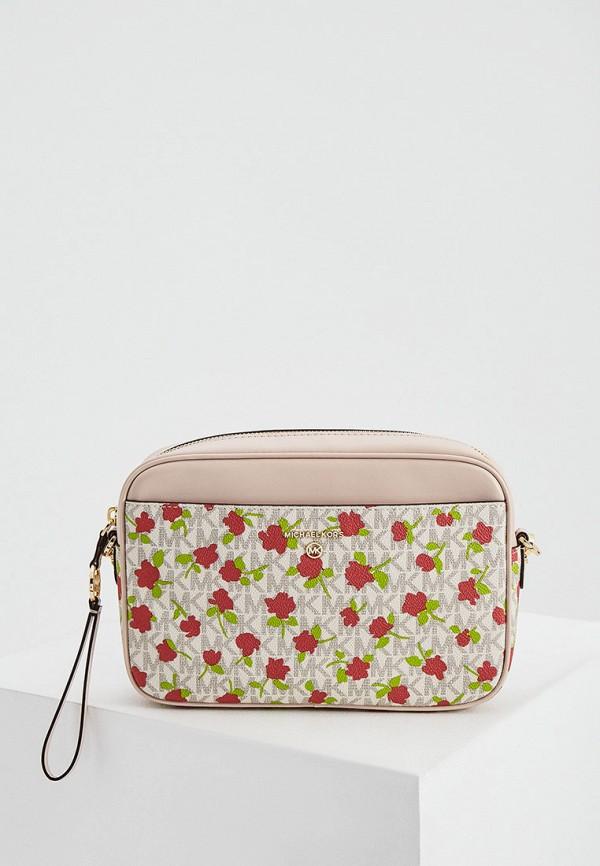 женская сумка через плечо michael kors, розовая